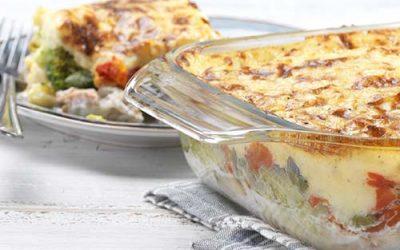 Ovenschotel met vis, aardappel en brocolli