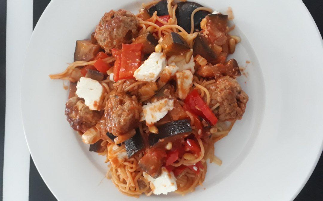 Spaghetti met zuiderse gehaktballetjes