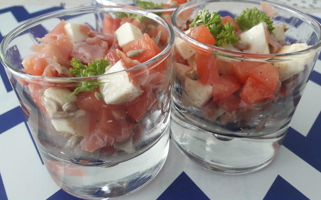 Hapje in glas : Tomaat, Mozarella, Ham