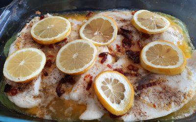Tilapia met look/boter/citroen